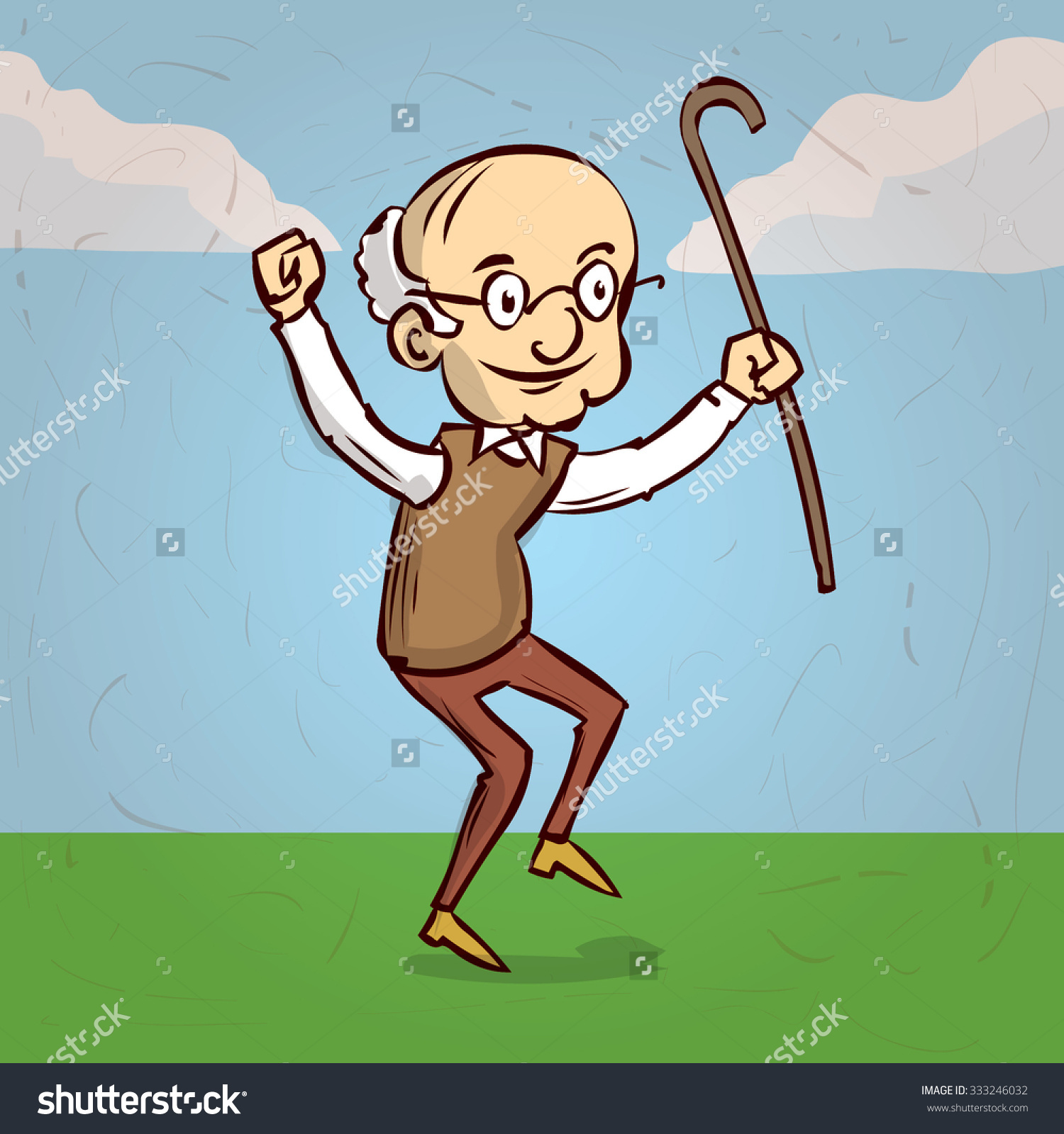 stock-vector-an-old-man-with-a-cane-dancing-hand-drawn-cartoon-vector-illustration-333246032